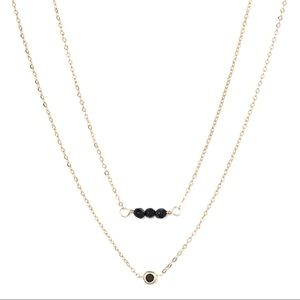 NWT Spinel & Black Onyx Silver-Plated Necklace Duo